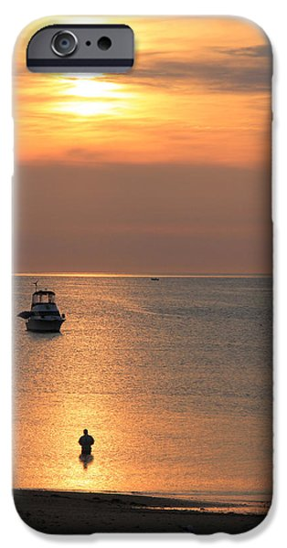 Rockport Ma iPhone Cases - Fishing At Dawn iPhone Case by Isaac Ber Photography