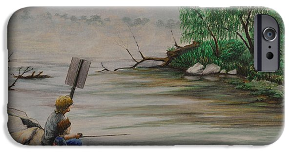 Willow Lake Drawings iPhone Cases - Fishing at Lake Palourde iPhone Case by Peter E Malbrough
