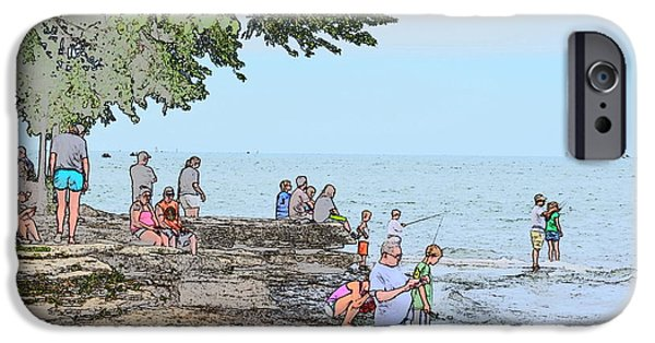 Historic Site Drawings iPhone Cases - Fishing at Marblehead iPhone Case by Jim Steinmiller