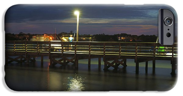 Evening Scenes iPhone Cases - Fishing at Soundside Park in Surf City iPhone Case by Mike McGlothlen