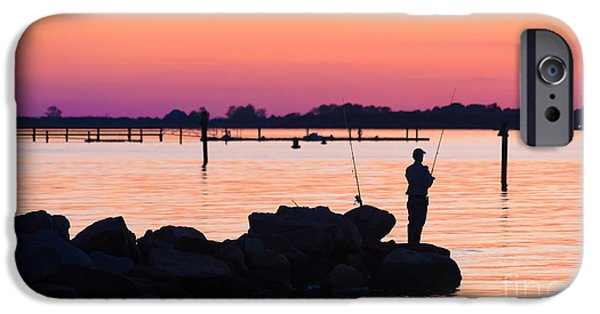 Fishermen iPhone Cases - Fishing at sunset iPhone Case by Edward Fielding