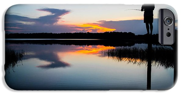Unset iPhone Cases - Fishing At Sunset iPhone Case by Parker Cunningham