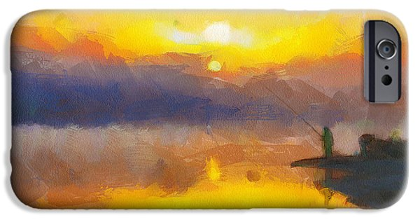 House Pet Digital Art iPhone Cases - Fishing at Sunset iPhone Case by Yury Malkov