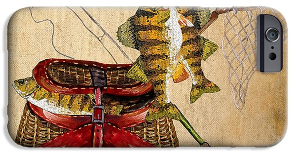 Wild Trout iPhone Cases - Fishing Basket  iPhone Case by Jean Plout