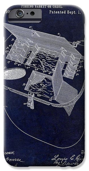 Shark iPhone Cases - Fishing Basket or Creel Patent Drawing Blue iPhone Case by Jon Neidert