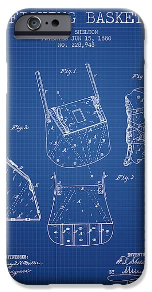Basket iPhone Cases - Fishing Basket Patent from 1880 - Blueprint iPhone Case by Aged Pixel