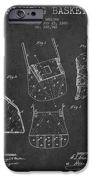 Basket iPhone Cases - Fishing Basket Patent from 1880 - Charcoal iPhone Case by Aged Pixel