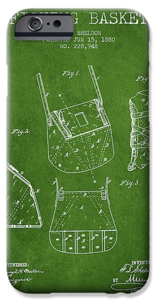 Basket iPhone Cases - Fishing Basket Patent from 1880 - Green iPhone Case by Aged Pixel