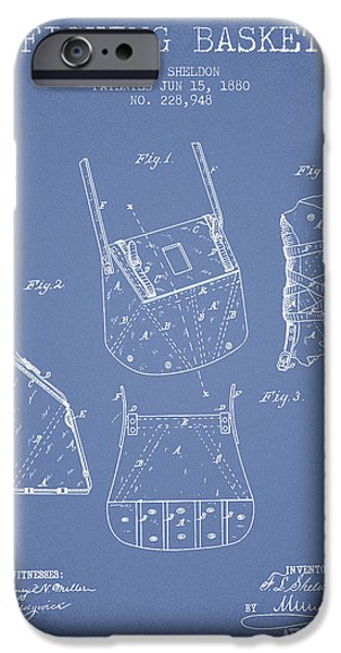 Basket iPhone Cases - Fishing Basket Patent from 1880 - Light Blue iPhone Case by Aged Pixel