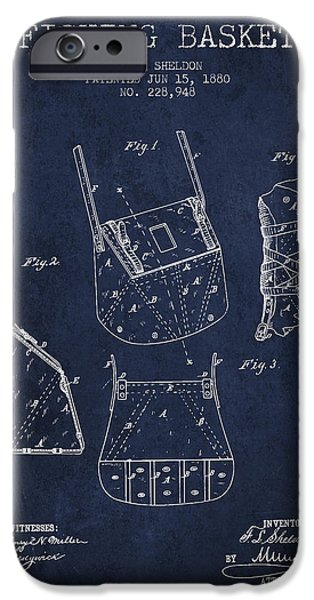 Basket iPhone Cases - Fishing Basket Patent from 1880 - Navy Blue iPhone Case by Aged Pixel