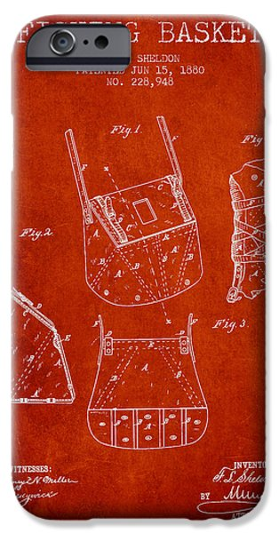 Basket iPhone Cases - Fishing Basket Patent from 1880 - Red iPhone Case by Aged Pixel