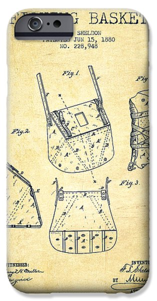 Basket iPhone Cases - Fishing Basket Patent from 1880 - Vintage iPhone Case by Aged Pixel