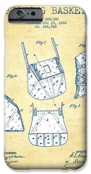 Basket iPhone Cases - Fishing Basket Patent from 1880 - Vintage Paper iPhone Case by Aged Pixel