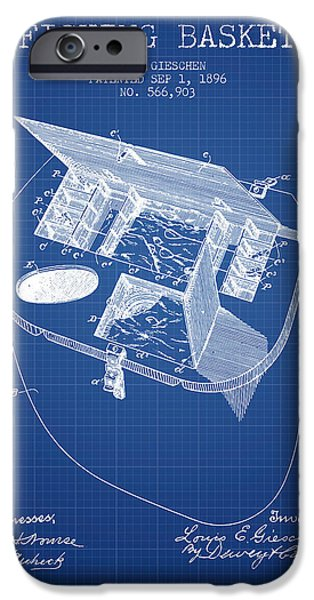 Basket iPhone Cases - Fishing Basket Patent from 1896 - Blueprint iPhone Case by Aged Pixel