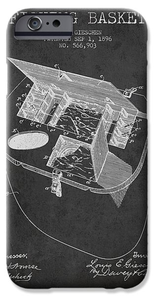 Basket iPhone Cases - Fishing Basket Patent from 1896 - Charcoal iPhone Case by Aged Pixel