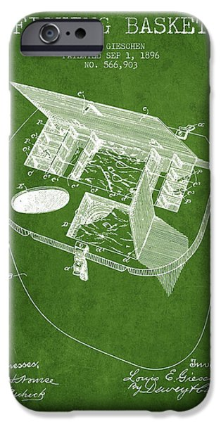 Basket iPhone Cases - Fishing Basket Patent from 1896 - Green iPhone Case by Aged Pixel