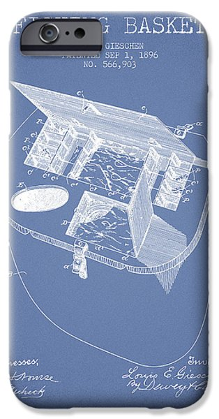 Basket iPhone Cases - Fishing Basket Patent from 1896 - Light Blue iPhone Case by Aged Pixel
