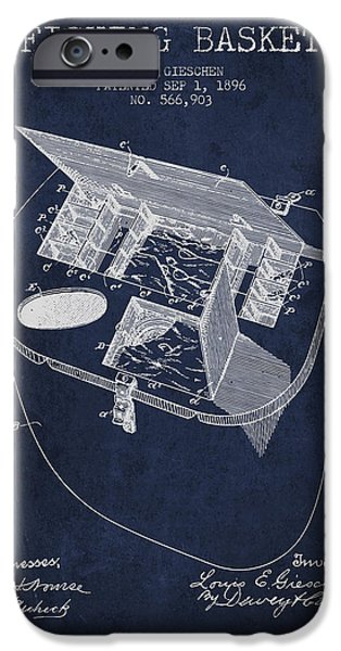 Basket iPhone Cases - Fishing Basket Patent from 1896 - Navy Blue iPhone Case by Aged Pixel