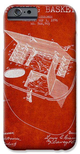 Basket iPhone Cases - Fishing Basket Patent from 1896 - Red iPhone Case by Aged Pixel