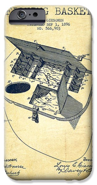 Basket iPhone Cases - Fishing Basket Patent from 1896 - Vintage iPhone Case by Aged Pixel