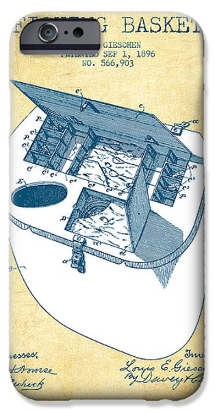 Basket iPhone Cases - Fishing Basket Patent from 1896 - Vintage Paper iPhone Case by Aged Pixel