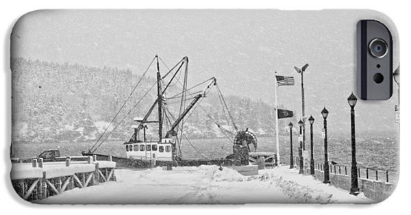 Winter Weather iPhone Cases - Fishing Boat In Snowstorm Bar Harbor Maine iPhone Case by Keith Webber Jr