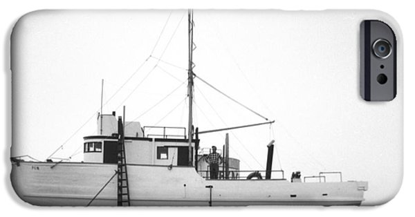Boat iPhone Cases - Fishing boat PGM out of the water at Moss Landing 1966 iPhone Case by California Views Mr Pat Hathaway Archives
