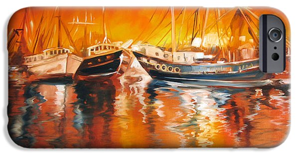 Waterscape Paintings iPhone Cases - Fishing Boats at Dusk iPhone Case by Marcia Baldwin