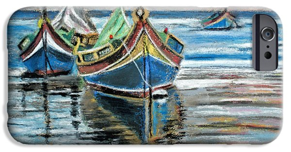 Transportation Pastels iPhone Cases - Fishing Boats At Rest iPhone Case by Callan Percy