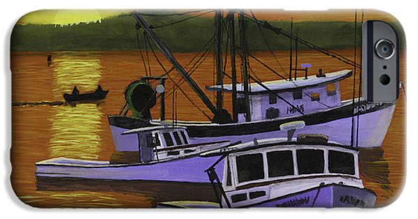Water Vessels Paintings iPhone Cases - Fishing Boats at Sunset iPhone Case by Keith Webber Jr