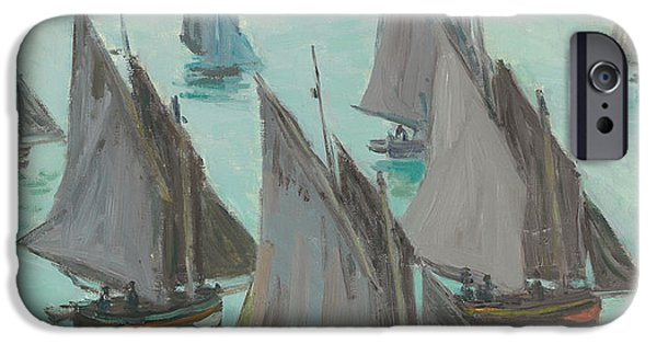Sailboat Ocean iPhone Cases - Fishing Boats Calm Sea iPhone Case by Claude Monet