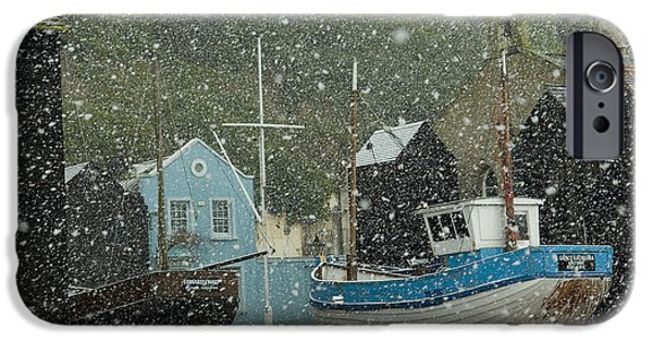 Simple Beauty In Colors iPhone Cases - Fishing Boats Covered With Snow In Old iPhone Case by Chris Parker