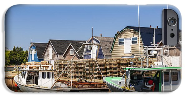 Province iPhone Cases - Fishing boats docked in Prince Edward Island  iPhone Case by Elena Elisseeva