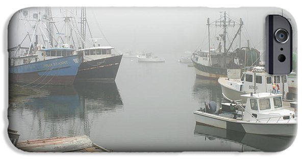 Down East iPhone Cases - Fishing boats in fog South Bristol Maine iPhone Case by Keith Webber Jr