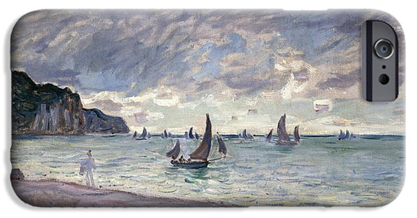 Storm Paintings iPhone Cases - Fishing Boats in front of the Beach and Cliffs of Pourville iPhone Case by Claude Monet