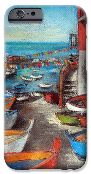 Village Pastels iPhone Cases - Fishing Boats In Riomaggiore iPhone Case by Mona Edulesco