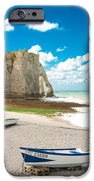 Beach iPhone Cases - Fishing Boats on the Beach at Etretat iPhone Case by Loriental Photography