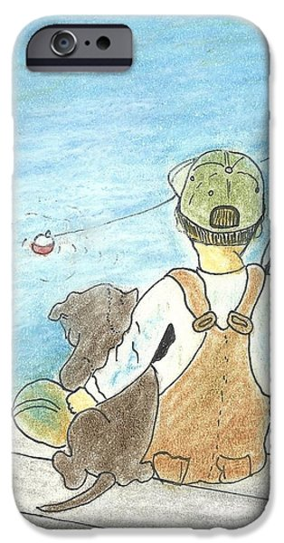 Fishing Pastels iPhone Cases - Fishing buddies iPhone Case by Barbara Unruh