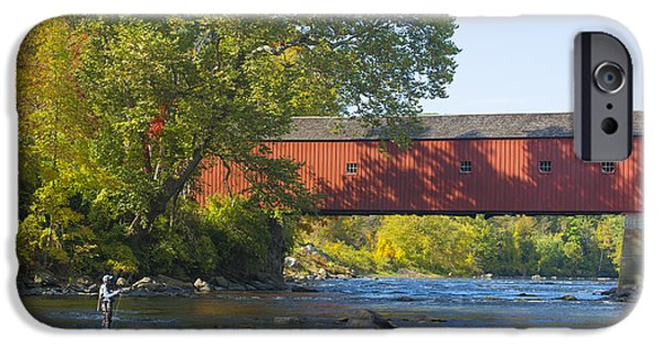 Covered Bridge iPhone Cases - Fishing by the Covered Bridge iPhone Case by Diane Diederich