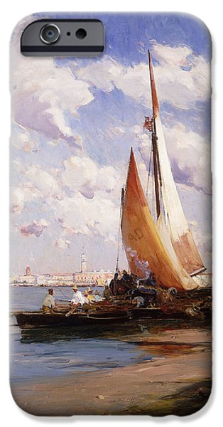 Water Vessels Paintings iPhone Cases - Fishing Craft with the Rivere degli Schiavoni Venice iPhone Case by E Aubrey Hunt