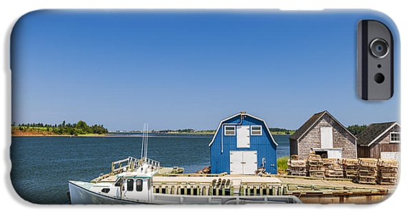 East Village iPhone Cases - Fishing dock in Prince Edward Island iPhone Case by Elena Elisseeva