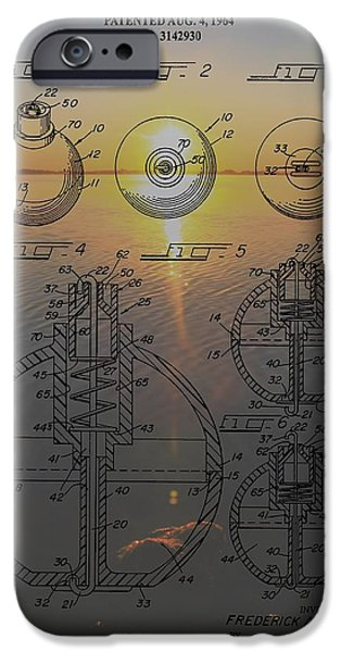 Gear Mixed Media iPhone Cases - Fishing Float Patent Sunrise iPhone Case by Dan Sproul