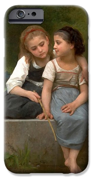 Fishing For Frogs Watercolor Version iPhone Case by William Bouguereau