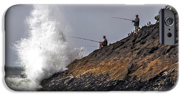 Haybale iPhone Cases - Fishing From The Rocks iPhone Case by Robert Bales