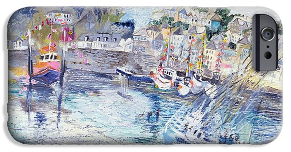 Boat iPhone Cases - Fishing Harbour, Newlyn, Cornwall, 2005 Oil Pastel & Acrylic On Board iPhone Case by Sophia Elliot