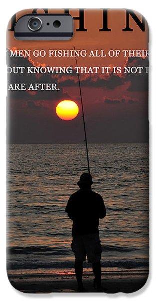 Henry David Thoreau iPhone Cases - Fishing Henry David Thoreau iPhone Case by David Lee Thompson