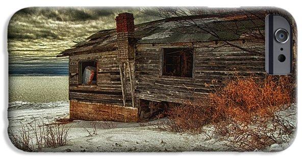 Abandonment iPhone Cases - Fishing Hut Lake Superior iPhone Case by Jakub Sisak