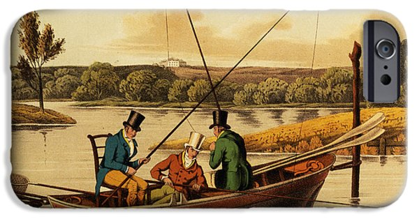 Punting iPhone Cases - Fishing in a Punt iPhone Case by Henry Thomas Alken