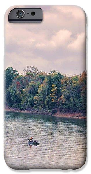 Fishing in Autumn iPhone Case by Jai Johnson