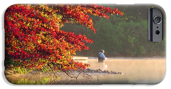 Golden Trout iPhone Cases - Fishing in Fall iPhone Case by Dianne Cowen